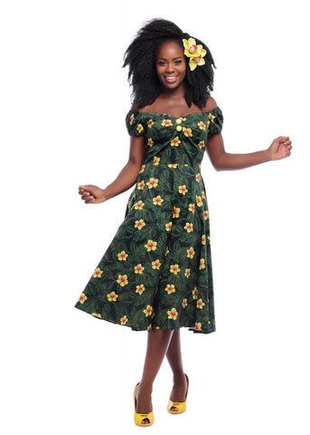 Collectif Dolores Tropical Hibiscus 50's Swing Dress Multi