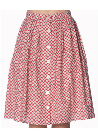 Banned Ditsy Daisy 50's Swing Skirt Red