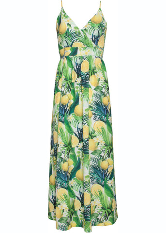 Smashed Lemon Flowing Lemons Maxi 70's Dress White Yellow