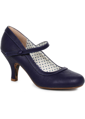Bettie Page Bettie Mary Jane 50's Heels Navy