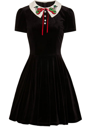 Hell Bunny Nightshade Fluwelen Mini Dress Black