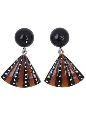Collectif Lily Fan 60's Earrings Black