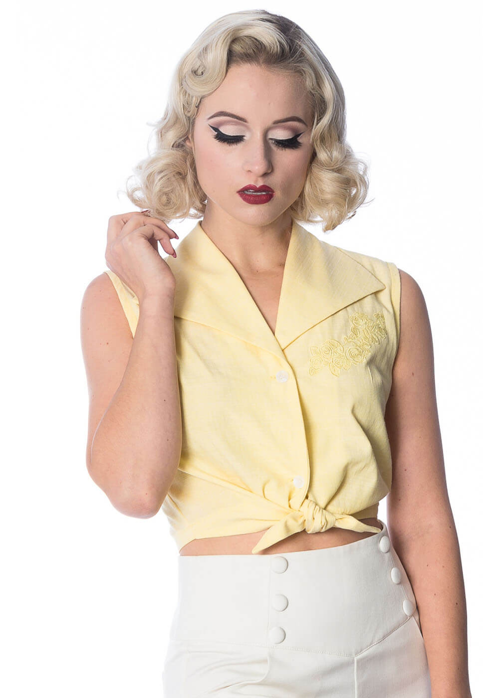 Banned Floral Days Button Blouse Yellow