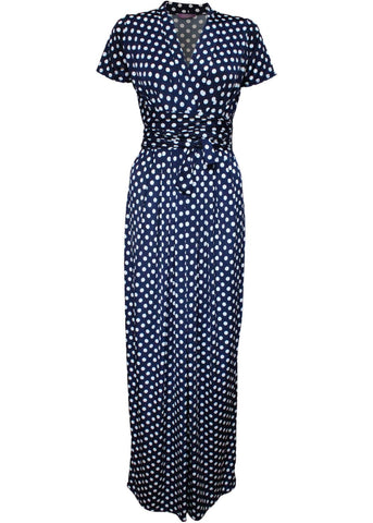 Onjenu Pitot Polkadot Maxi Dress Navy
