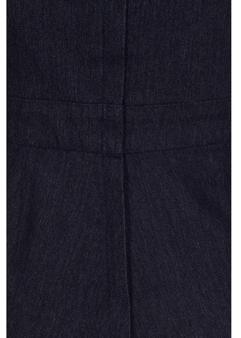 Collectif Willow Denim 50's Playsuit Navy Blue