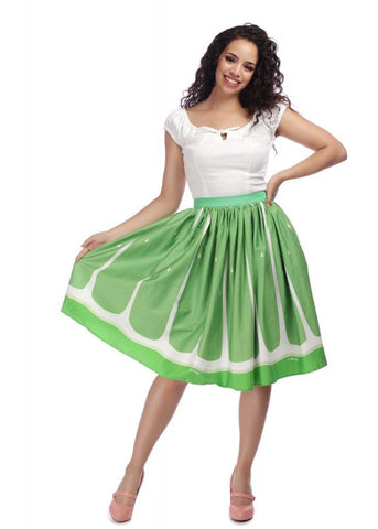 Collectif Jasmine Lime 50's Swing Skirt Green