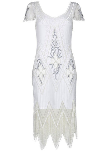 Gatsbylady Anette 1920's Flapper Dress Cream