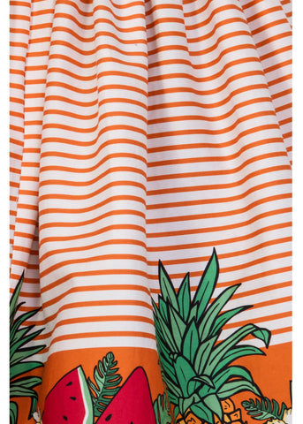 Collectif Jasmine Tropical Fruit 50's Swing Skirt Orange