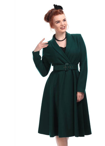 Collectif Dawn Swing 50's Coat Green