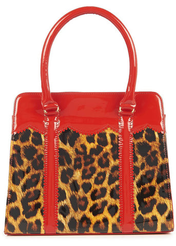 Banned Juicy Bits 50's Purse Red Leopard