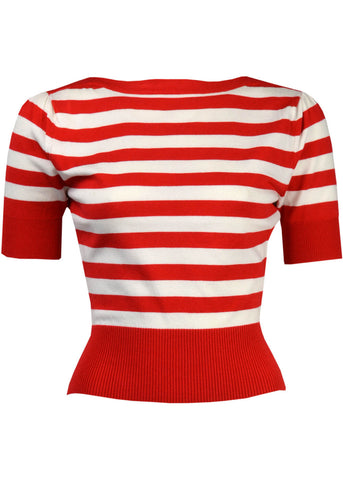 Pretty Retro Pin Up Stripe Sweater Red