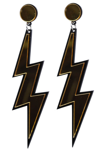 Succubus Lightning Bolt 70's Pop Art Earrings Silver