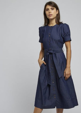 Louche Dayan Denim 40's Midi Dress Blue