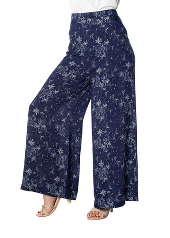 Banned Santorini Dreams 70's Palazzo Pants Navy