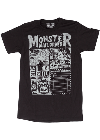 Sourpuss Mens Monster Mailorder T-Shirt Black