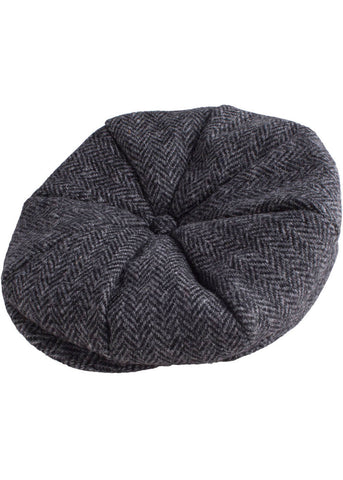 Gibson London Baker Harris Tweed Cap Black