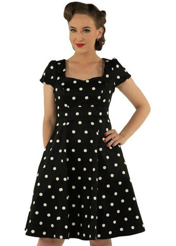 Dolly & Dotty Claudia Polkadot 50's Swing Dress Black White
