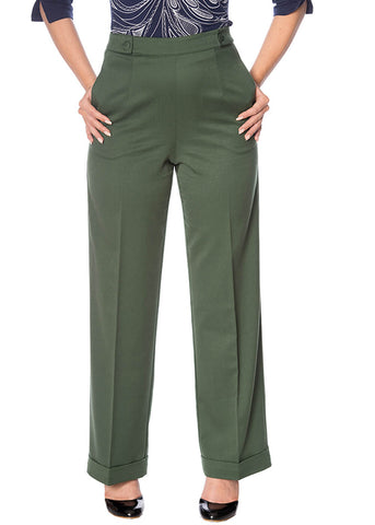 Banned Party On 40's Trousers Dark Green