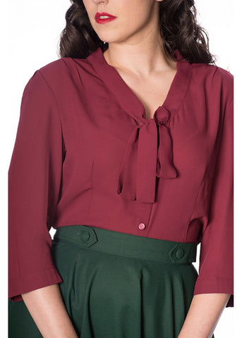 Banned Perfect Pussybow 40's Blouse Burgundy Colour