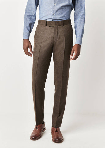 Gibson London Ethan Herringbone Trousers Coffee
