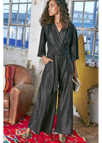 Onjenu Laurie Metallic Jumpsuit Black
