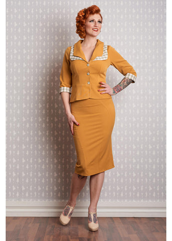 Miss Candyfloss Juana 40's Pencil Skirt Musterd