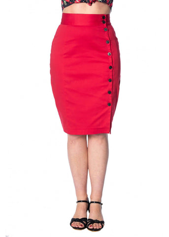 Banned Rockin 50's Pencil Skirt Red