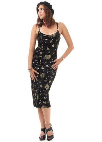 Bright & Beautiful Fansica Zodiac 70's Pencil Dress Black