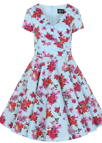 Hell Bunny Alyssa Mid 50's Swing Dress Blue