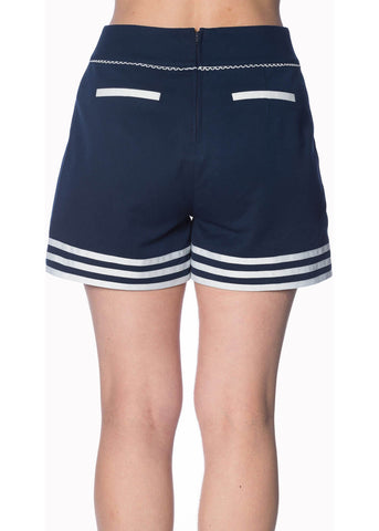 Banned Set Sail 40's Shorts Navy Blue