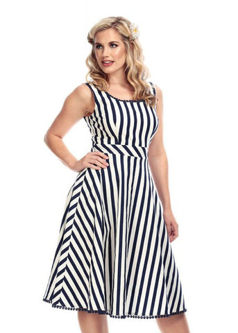 Collectif Lucille Striped Swing 50's Dress Navy White