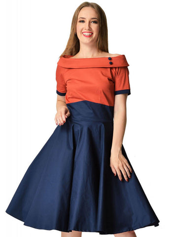 Dolly & Dotty Darlene 50's Swing Dress Chilli Navy