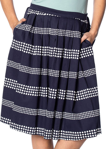 Banned Sail Away 60's Swing Skirt Navy