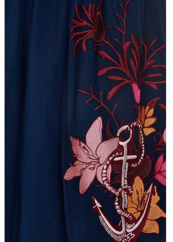 Bright & Beautiful Talis Seaside Embroided Skirt Blue