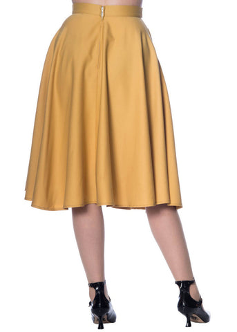 Banned Di Di 50's Swing Skirt Mustard