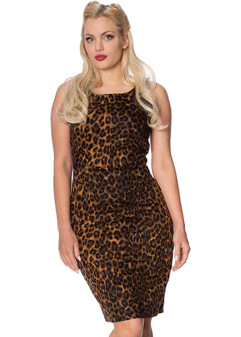 Banned Animal Instincts 50's Pencil Dress Leopard