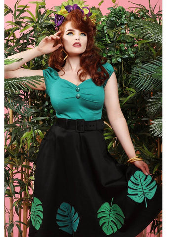 Collectif Tropical Palm 50's Swing Skirt Black