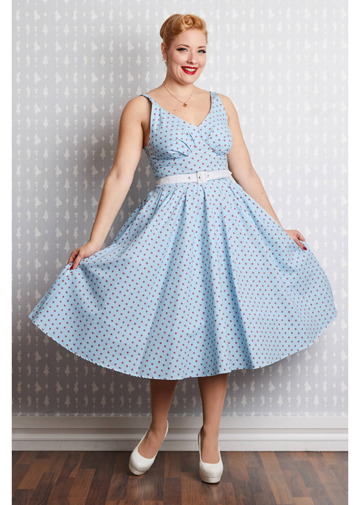 8ac4d893e34b Miss Candyfloss Gisella Regina Rose 50's Swing Dress Blue ♥ Shop ...