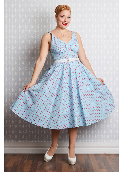 Miss Candyfloss Gisella Regina Rose 50's Swing Dress Blue