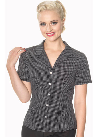 Banned Lou Lou Polkadot Blouse Black White