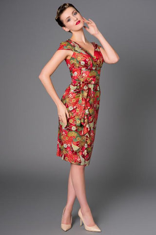 Victory Parade Golden Cranes Waterfall Dress Red