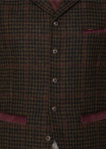 Gibson London Melvin Dogtooth Gilet Brown