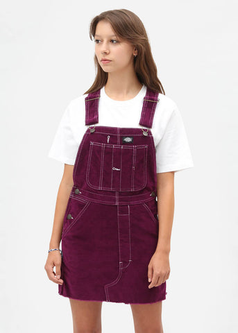 Dickies Ladies New Liberty Velvet Dungaree Dress Aubergine Purple