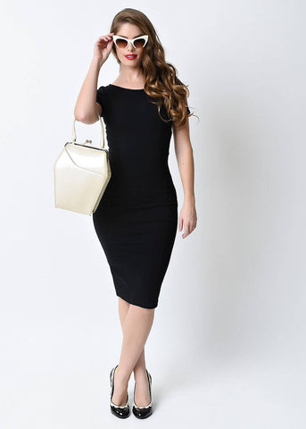 Unique Vintage Mod 60's Pencil Dress Black