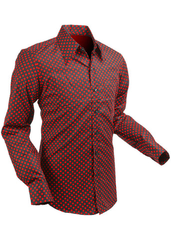 Chenaski Mens Shirt Polkadot Red Black