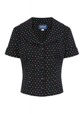 Collectif Brette Polkadot 50's Shirt Black