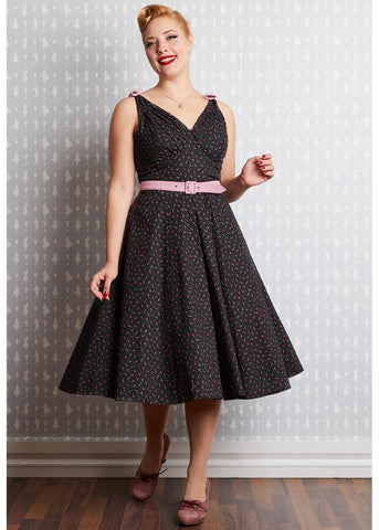 Miss Candyfloss Fauna 50's Cherry Swing Dress Black