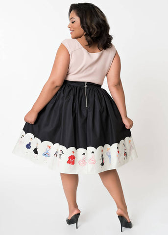 Unique Vintage Barbie Collection 50's Swing Skirt Black