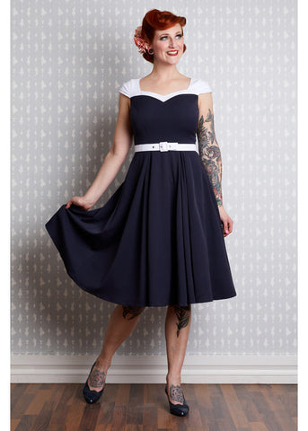 Miss Candyfloss Merryweather Lee 50's Swing Dress Navy