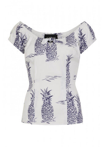 Collectif Lorena Pineapple 50's Top White